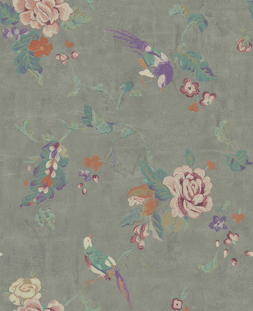Sample Kimono Wallpaper in Silver, Purple, and Multi from the Watercolor Florals Collection by Mayflower Wallpaper