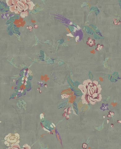 Kimono Wallpaper in Silver, Purple, and Multi from the Watercolor Florals Collection by Mayflower Wallpaper