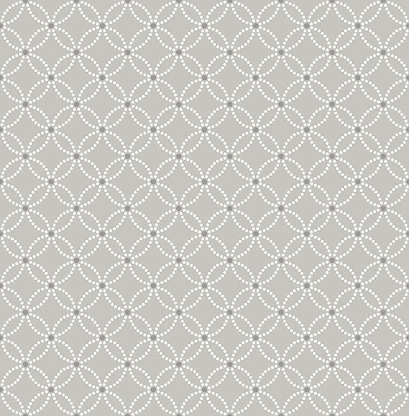 Kinetic Grey Geometric Floral Wallpaper from the Symetrie Collection by Brewster Home Fashions