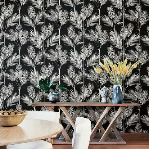 King Palm Silhouette Wallpaper in Black from the Water's Edge Collection by York Wallcoverings