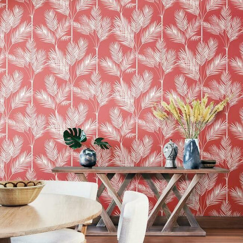 King Palm Silhouette Wallpaper in Coral from the Water's Edge Collection by York Wallcoverings