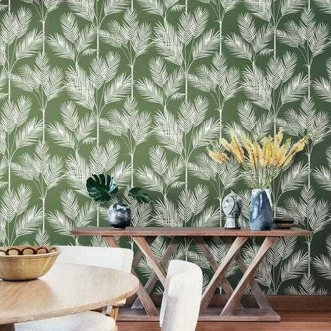 King Palm Silhouette Wallpaper in Fern from the Water's Edge Collection by York Wallcoverings