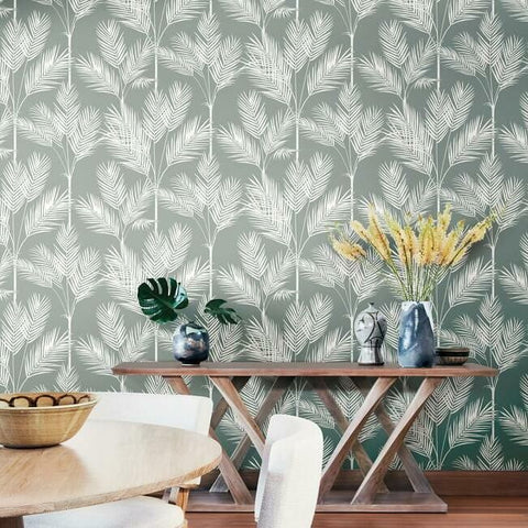 King Palm Silhouette Wallpaper in Fog from the Water's Edge Collection by York Wallcoverings