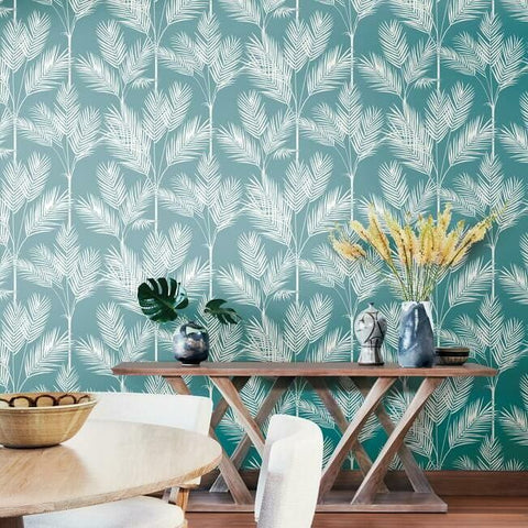 King Palm Silhouette Wallpaper in Light Blue from the Water's Edge Collection by York Wallcoverings