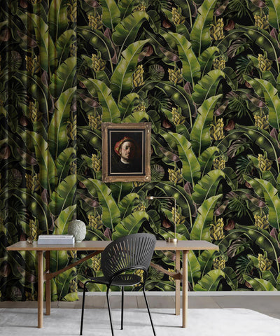 Kingdom Palm Wallpaper (Two Rolls) in Night from the Kingdom Home Collection by Milton & King
