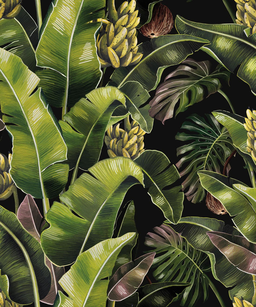 Sample Kingdom Palm Wallpaper (Two Rolls) in Night from the Kingdom Home Collection by Milton & King