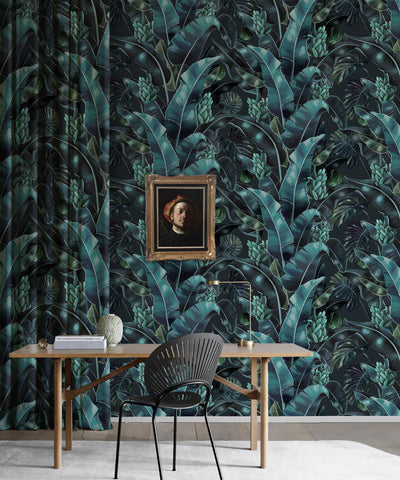 Kingdom Palm Wallpaper (Two Rolls) in Noche from the Kingdom Home Collection by Milton & King