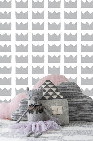 Kingdom Wallpaper in Silver by Marley + Malek Kids