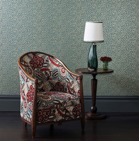 Kingsley Wallpaper in Peacock and Gold from the Ashdown Collection by Nina Campbell for Osborne & Little