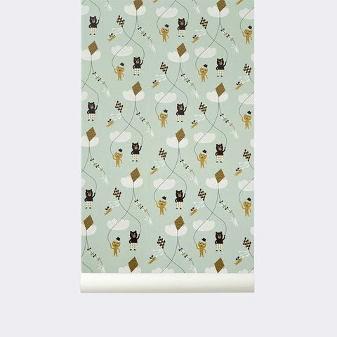 Sample Kite Kid's Wallpaper in Mint design by Ferm Living