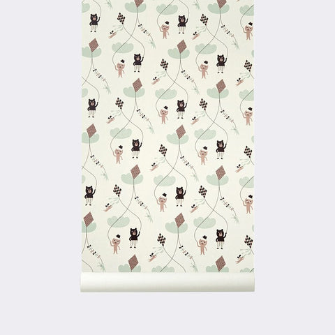 Sample Kite Kid's Wallpaper in Rose by Ferm Living