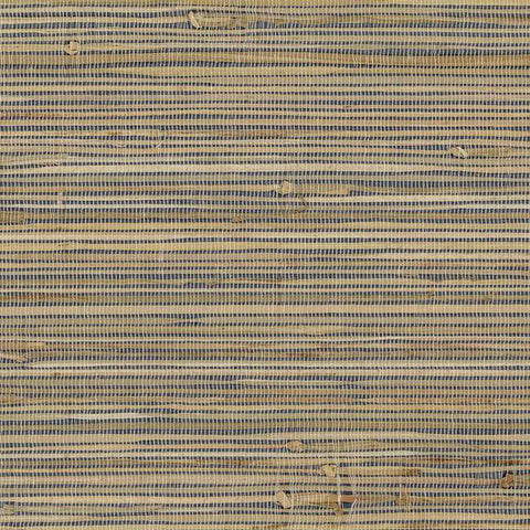 Knotted Grass Wallpaper in Browns and Deep Blue from the Grasscloth II Collection by York Wallcoverings