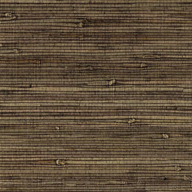 Knotted Grass Wallpaper in Dark Brown from the Grasscloth II Collection by York Wallcoverings