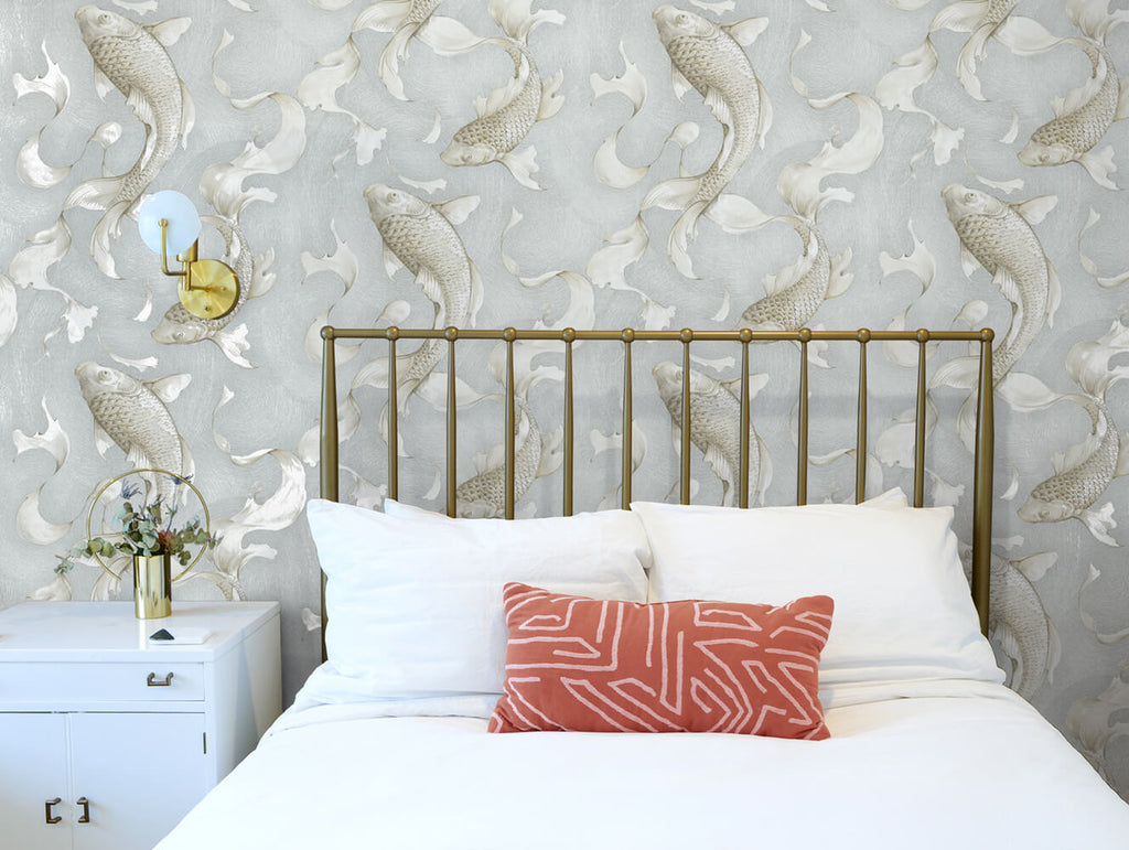 Koi Fish Peel-and-Stick Wallpaper in Metallic Champagne and Grey by NextWall