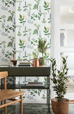 Koksvaxter Green Floral Wallpaper from the Scandinavian Designers II Collection by Brewster