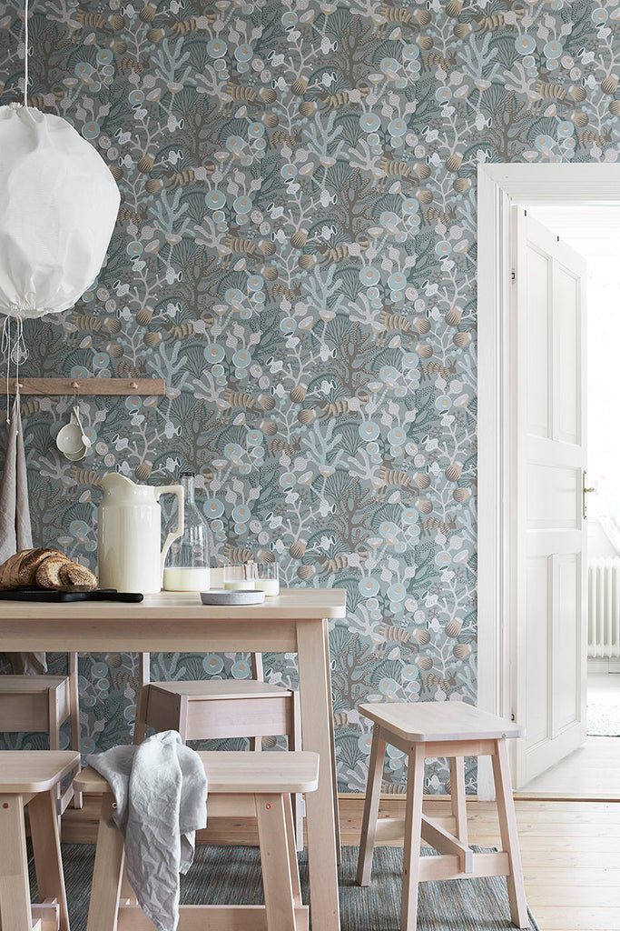 Korall Meadow Wallpaper from the Wonderland Collection by Brewster Home Fashions