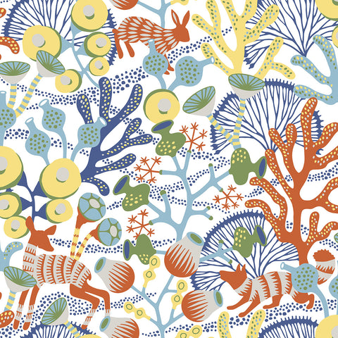 Korall Multicolor Meadow Wallpaper from the Wonderland Collection by Brewster Home Fashions
