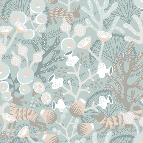 Woodland creatures meet underwater life in this one-of-a-kind wallpaper. The intricate pattern is beautiful in shades of dusty teal, taupe, blue, grey, beige, and white.