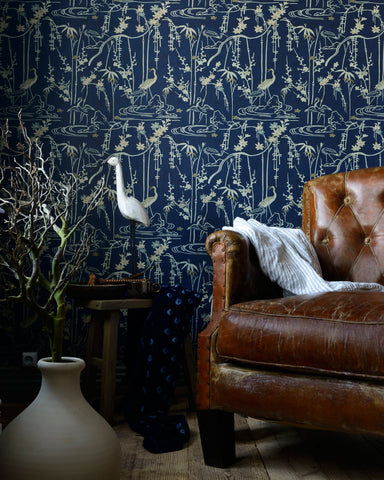 Kyoto Wallpaper in Indigo and Taupe from the Wallpaper Compendium Collection by Mind the Gap