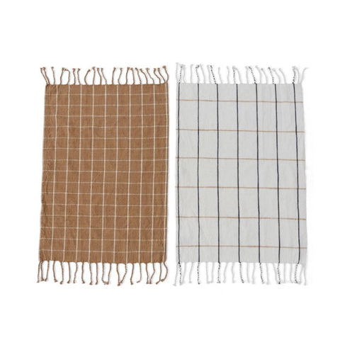 Gobi Tea Towel - 2 Pcs/Pack - Camel / Offwhite