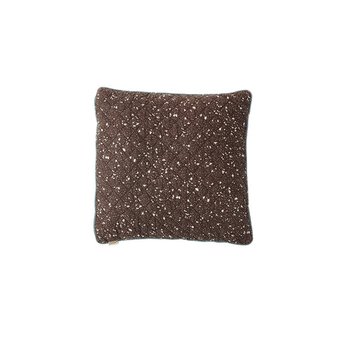 Quilted Aya Cushion - Brown / Offwhite