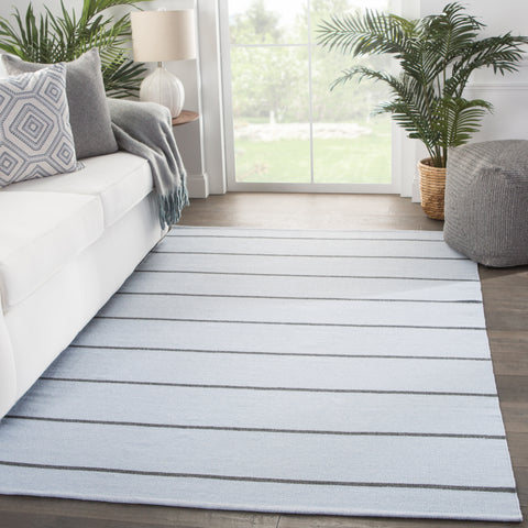 Corbina Indoor/ Outdoor Stripes Light Blue/ Gray Rug by Jaipur Living