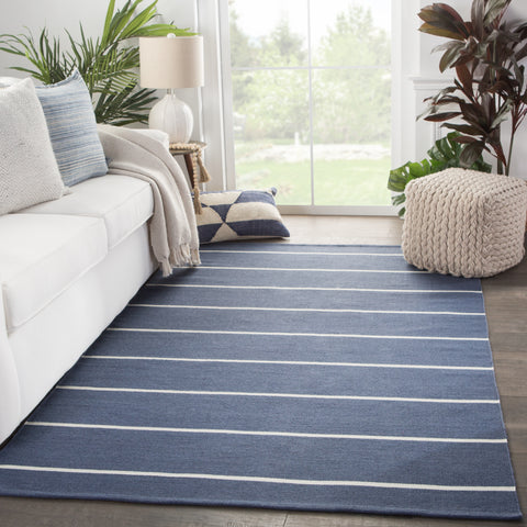 Corbina Indoor/ Outdoor Stripe Dark Blue & Ivory Area Rug
