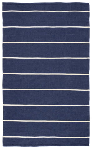Corbina Indoor/ Outdoor Stripes Dark Blue/ Ivory Rug by Jaipur Living