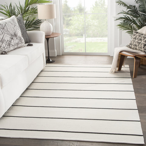 Corbina Indoor/ Outdoor Stripe Ivory & Dark Gray Area Rug