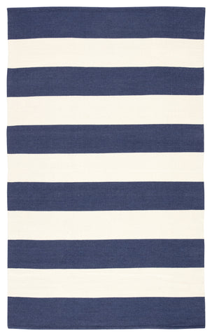 Remora Indoor/ Outdoor Stripe Dark Blue & Ivory Area Rug