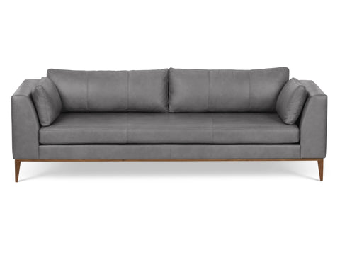 Largo Leather Sofa in Silver