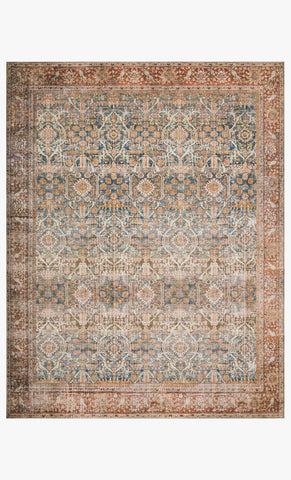 Layla Rug in Ocean & Rust by Loloi II