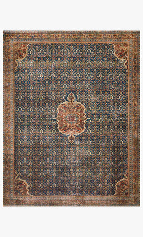 Layla Rug in Cobalt Blue & Spice by Loloi II