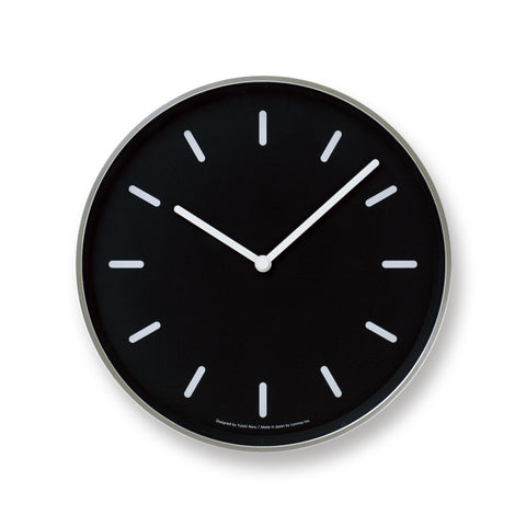 Mono Wall Clock in Black w/ Lines design by Lemnos