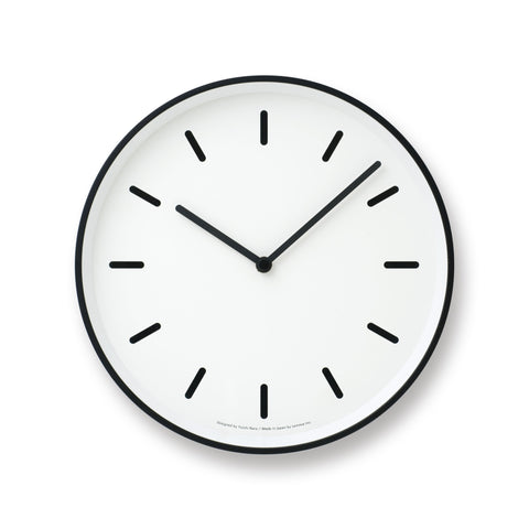 Mono Wall Clock in White w/ Lines design by Lemnos