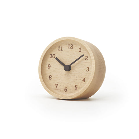 Muku Table Clock in Beech design by Lemnos