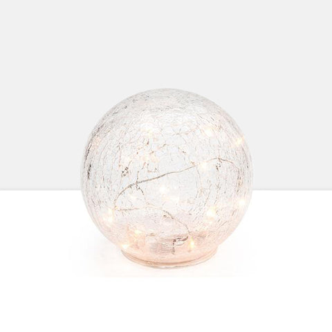 "LED Sphere 8"" Crackle Glass Decor Light"
