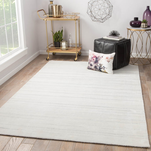 Oplyse Handmade Stripe White & Gray Area Rug