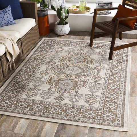 Laguna LGU-2302 Indoor/Outdoor Rug in Camel & White by Surya