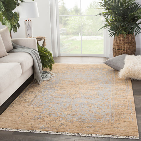 Abington Hand-Knotted Medallion Tan/ Gray Rug by Jaipur Living