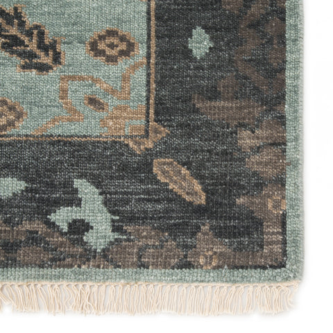 Savona Hand-Knotted Medallion Green & Dark Gray Area Rug