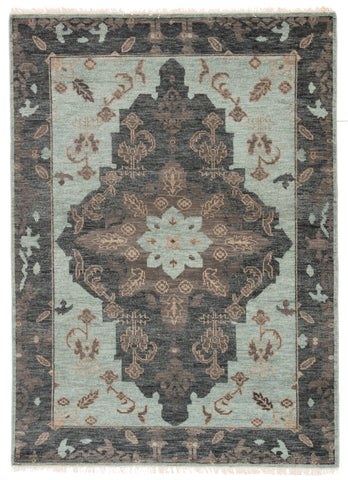 Savona Hand-Knotted Medallion Green/ Dark Gray Rug by Jaipur Living