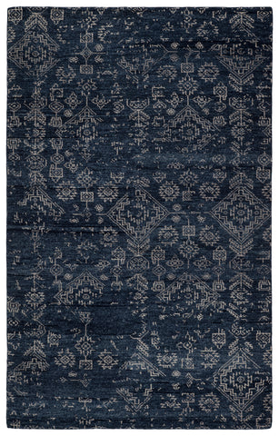 Azuma Hand-Knotted Tribal Dark Blue/ Light Gray Rug by Jaipur Living