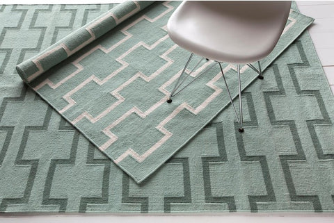 Lima Collection Hand-Woven Area Rug, Green & White