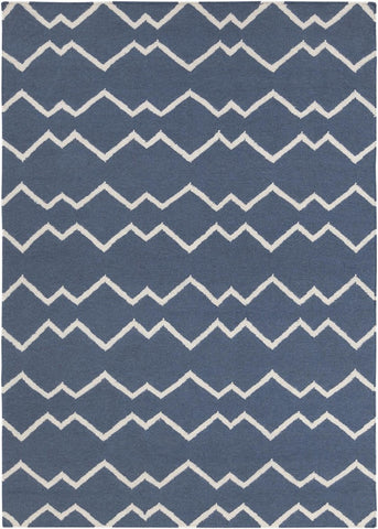 Lima Collection Hand-Woven Area Rug, Blue & White Zigzag