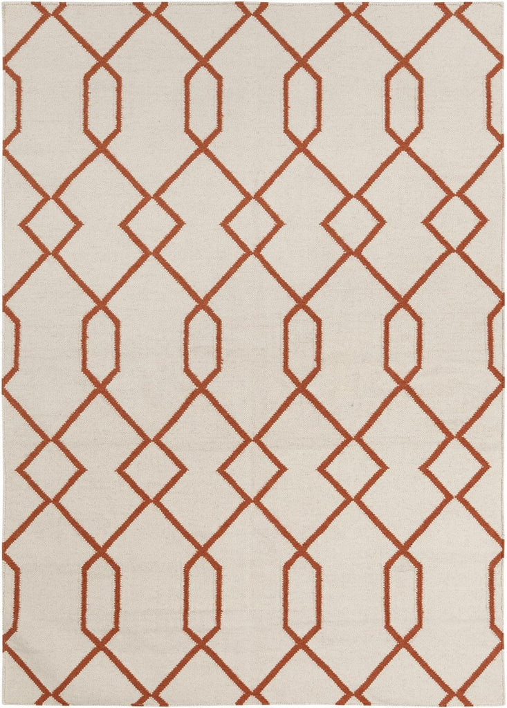 Lima Collection Hand-Woven Area Rug, Beige & Orange