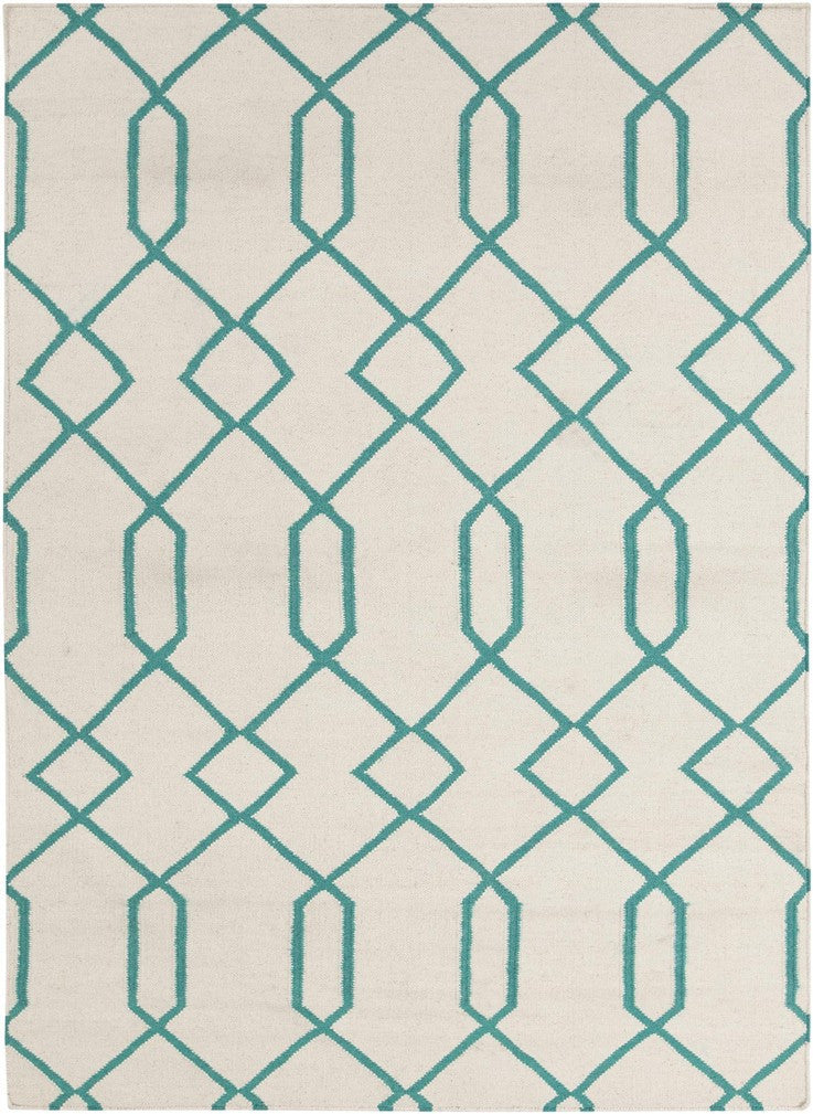 Lima Collection Hand-Woven Area Rug, Beige & Turquoise design by Chandra rugs