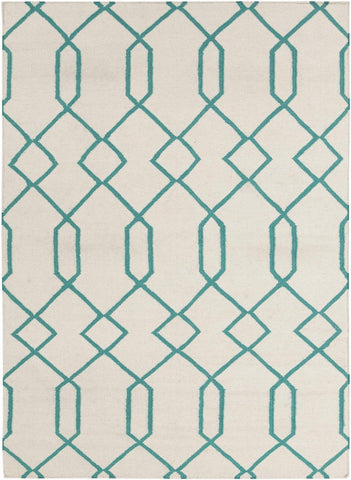 Lima Collection Hand-Woven Area Rug, Beige & Turquoise