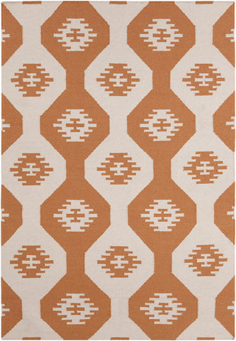 Lima Collection Flat-weaved Reversible Wool/Cotton Rug in White & Orange