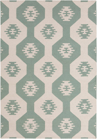 Lima Collection Flat-weaved Reversible Wool/Cotton Rug in White & Green